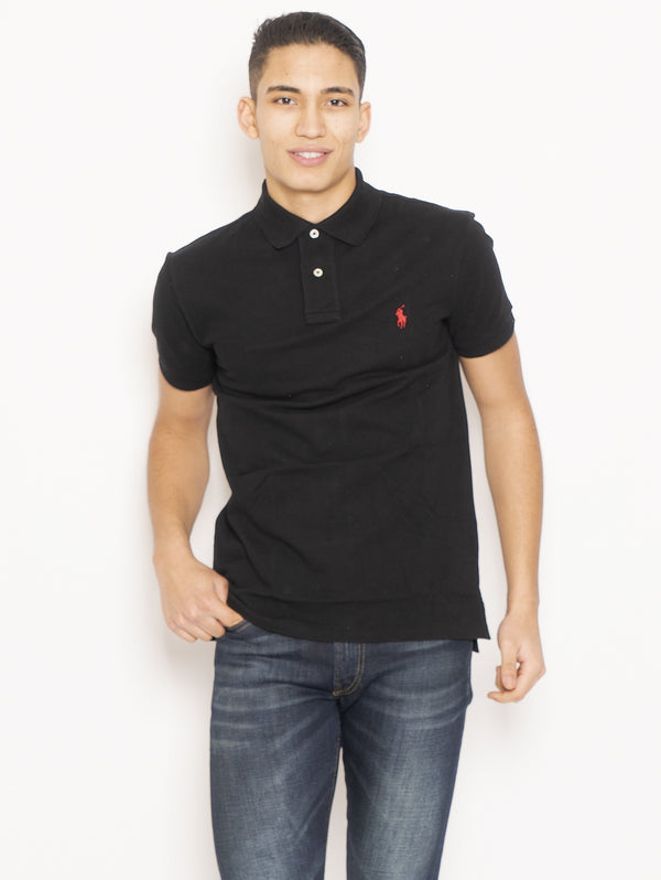 RALPH LAUREN-Polo in Piqué di Cotone Slim FIt Nero-TRYME Shop