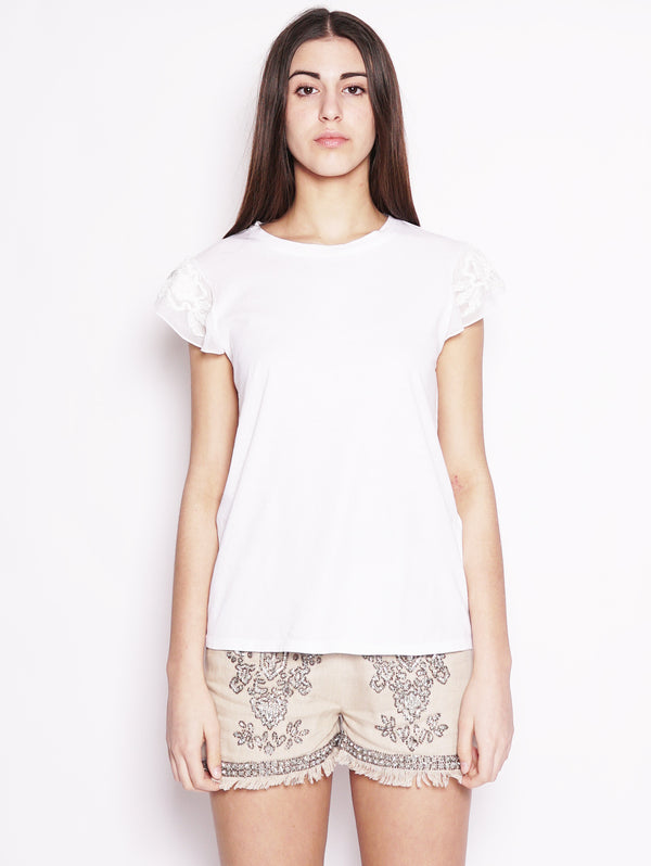 T-shirt con ricami - 191TT2150 Bianco-T-shirt-TWIN SET-TRYME Shop