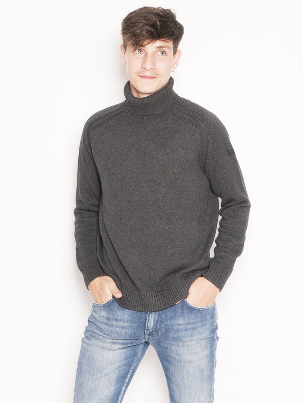 RRD-Maglia collo Alto Knit Cotton Plain Turtleneck Grigio-TRYME Shop