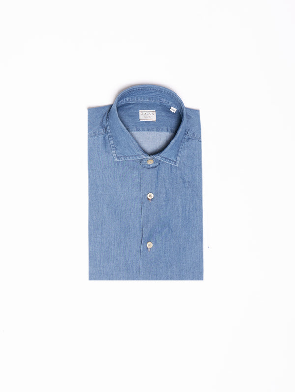 XACUS-Camicia in Chambray - Blu-TRYME Shop