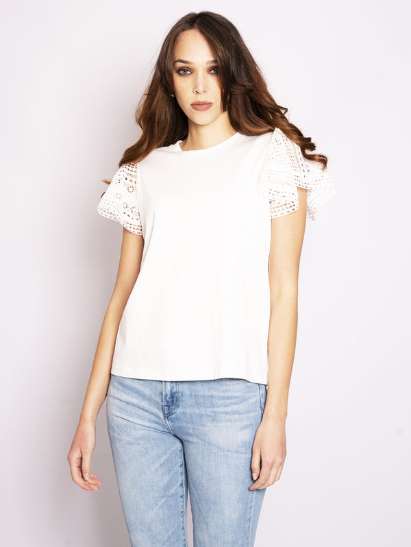 TWIN SET-T-shirt con Maniche in Pizzo Bianco-TRYME Shop