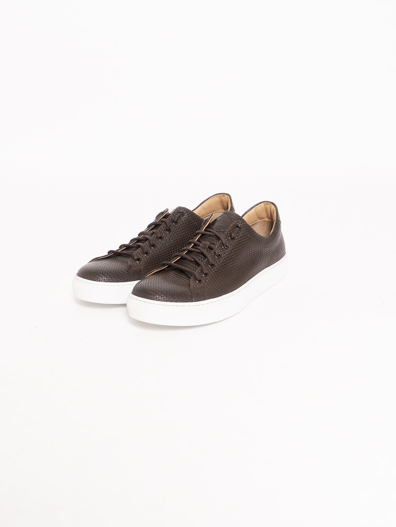 Sneakers in Pelle Intrecciata Marrone