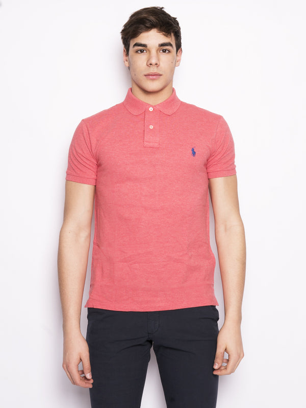 RALPH LAUREN-Polo in Cotone Slim-Fit Pink HTR-TRYME Shop