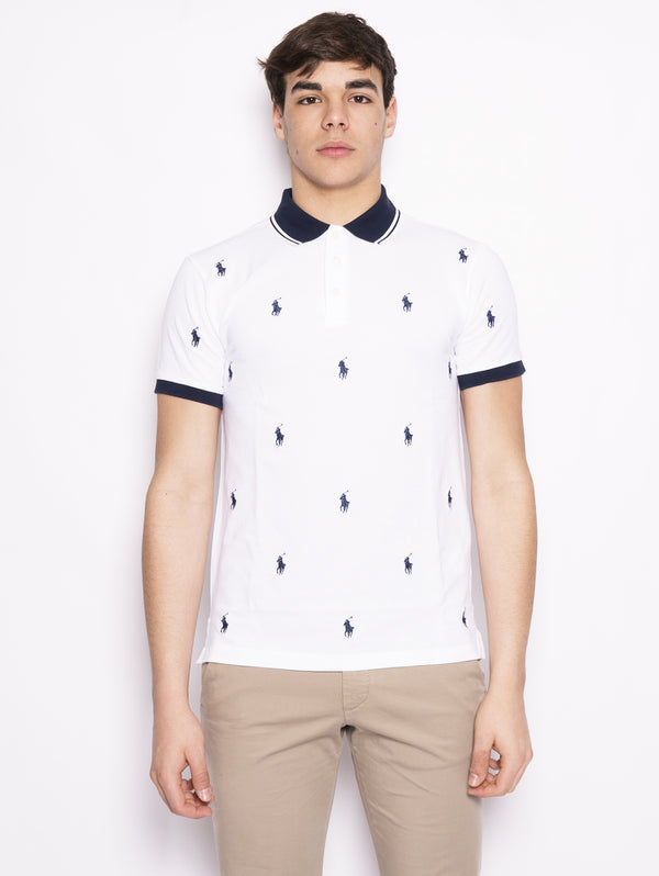 RALPH LAUREN-Polo stretch motivo all over Bianco / Blu-TRYME Shop
