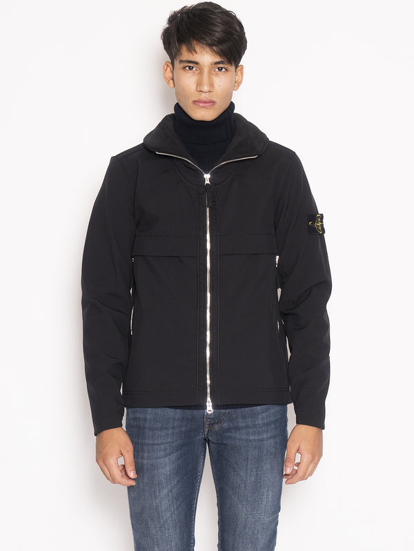 STONE ISLAND-Pilot Jacket in Soft Shell-R Q0122 Nero-TRYME Shop
