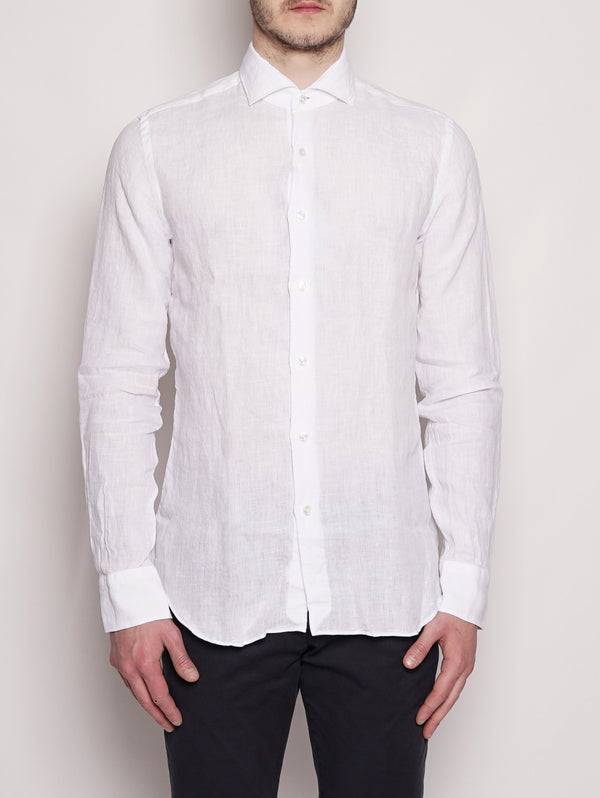 XACUS-Camicia in lino - 722ML 21174 Bianco-TRYME Shop