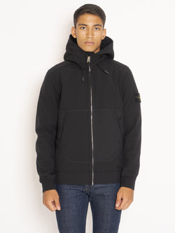 STONE ISLAND-Giubbotto con Cappuccio in Soft Shell-R - Nero-TRYME Shop