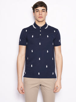 RALPH LAUREN-Polo stretch motivo all over Blu / Bianco-TRYME Shop