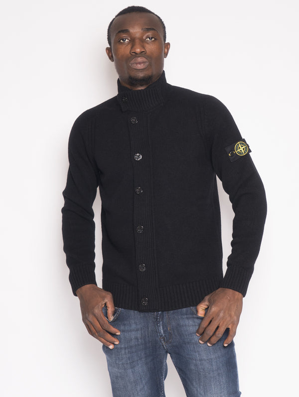 STONE ISLAND-Cardigan in lamdswool 564A3 Nero-TRYME Shop