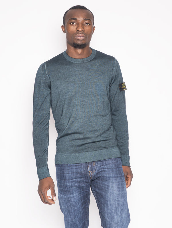 STONE ISLAND-Maglia in lana effetto melange 572A8 Verde-TRYME Shop