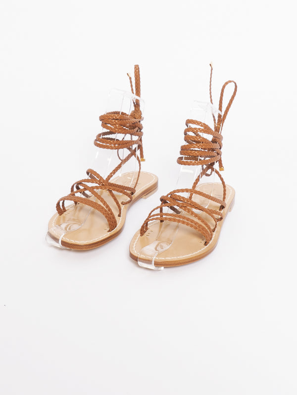Flat Sandals with Black Front Cross