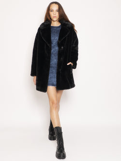 P.A.R.O.S.H.-Cappotto in Ecofur - Nero-TRYME Shop