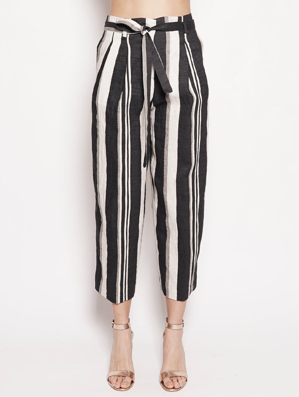 KILTIE-Pantalone cropped a righe Beige / Nero-TRYME Shop