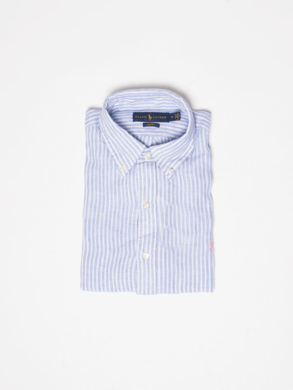 RALPH LAUREN-Camicia in Lino a Righe Blu-TRYME Shop
