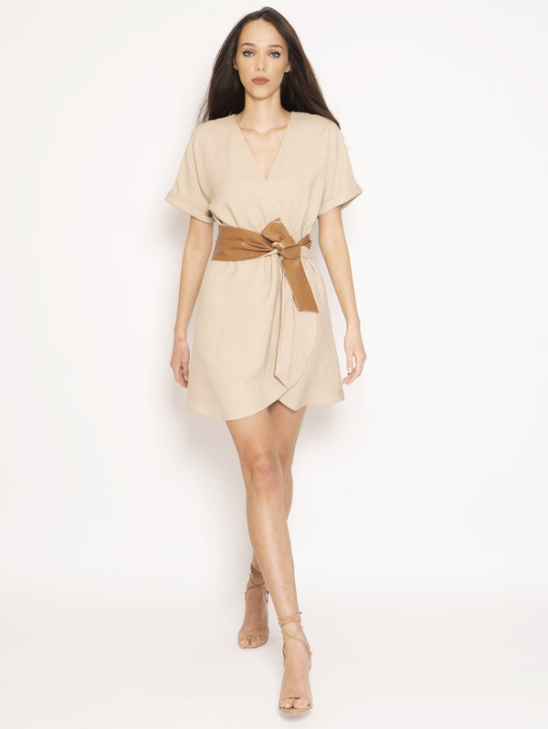TWIN SET-Abito in Canvas con Cinta Beige-TRYME Shop