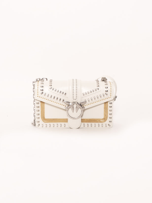 PINKO-Borsa con Borchie Love Bag Mix Studs Bianco-TRYME Shop