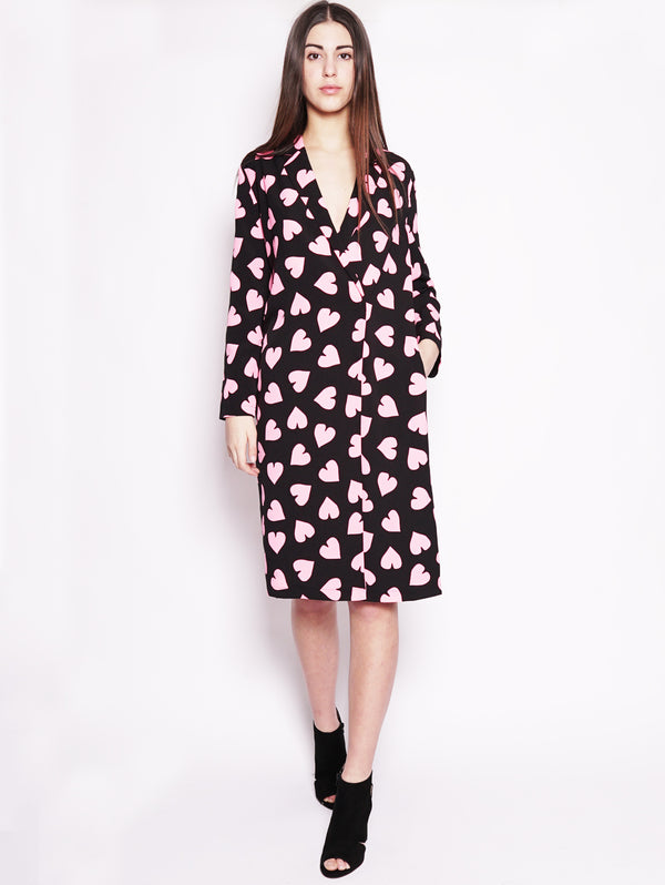 Robe manteau con cinta in vita Nero / Fucsia-Abiti-ESSENTIEL-TRYME Shop