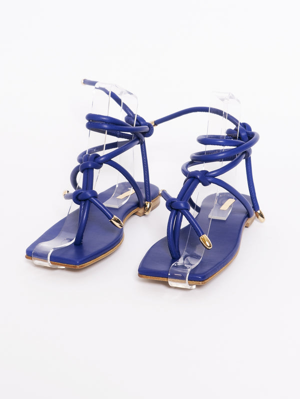 Blue Tubular Tassel Sandals