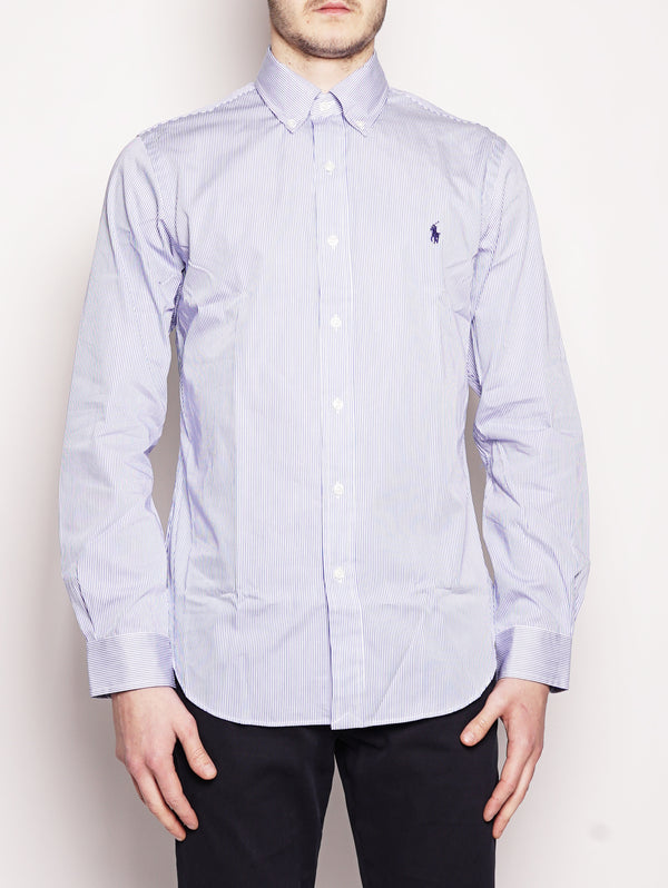 Camicia popeline a righe Slim-Fit Blu/Bianco-Camicie-RALPH LAUREN-TRYME Shop