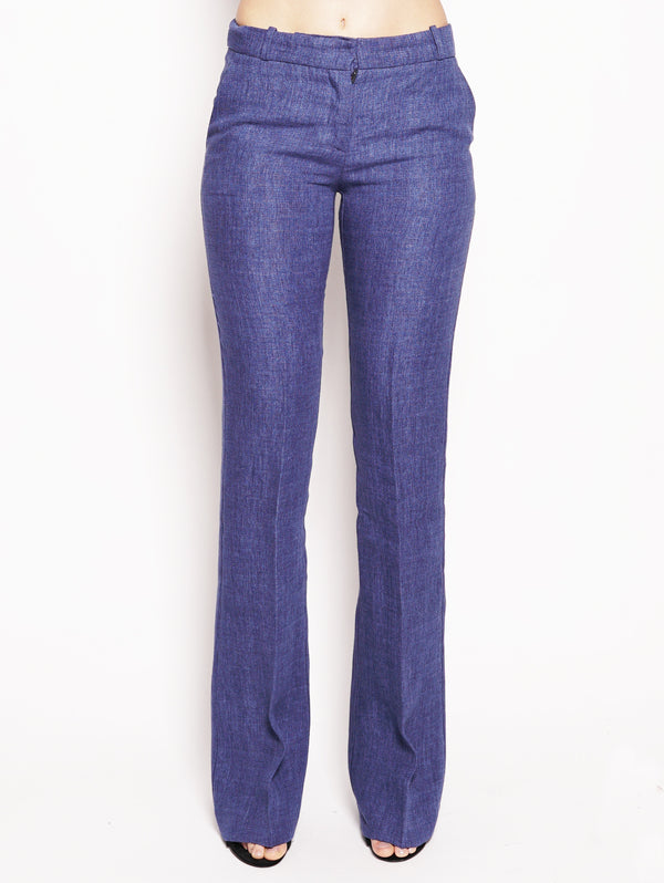 KILTIE-Pantalone in lino a zampa Blu Royal-TRYME Shop
