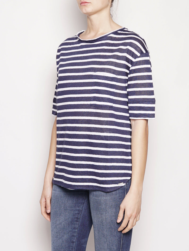 T-shirt in lino Bianco / Blu-T-shirt-WOOLRICH-TRYME Shop