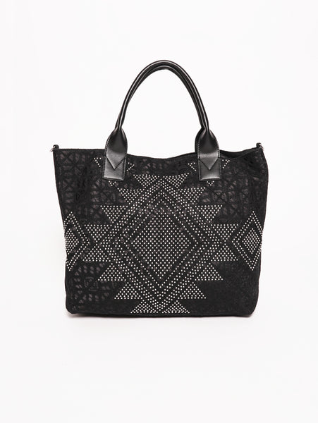 Borghese - Shopping bag in pizzo e borchie Nero