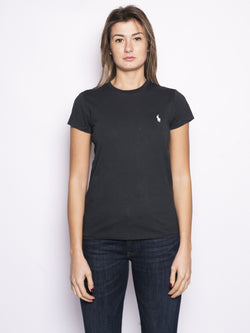 RALPH LAUREN-T-shirt basica in cotone Nero-TRYME Shop