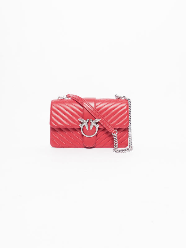 PINKO-Borsa Motivo Chevron Love Bag Mix in Nappa Trapuntata Rosso-TRYME Shop