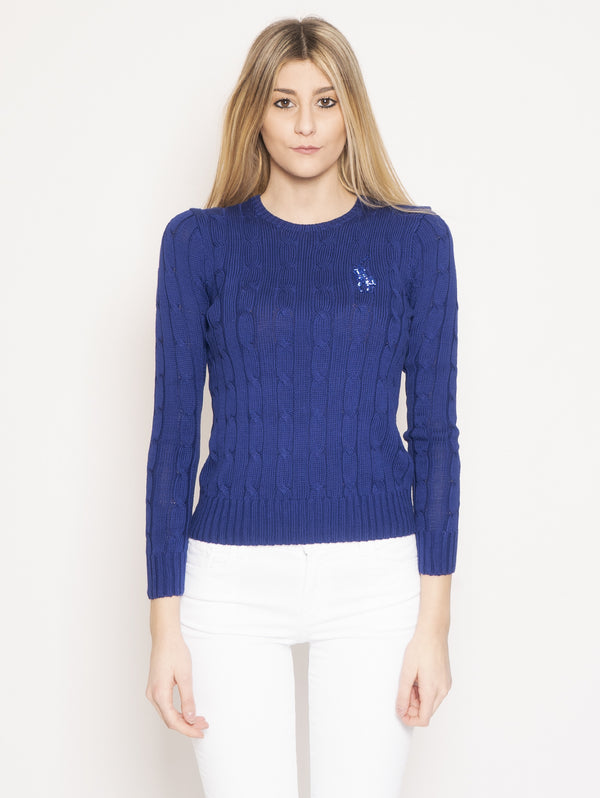 RALPH LAUREN-Maglia in Pima Cotton con Pony con Perline Blu-TRYME Shop