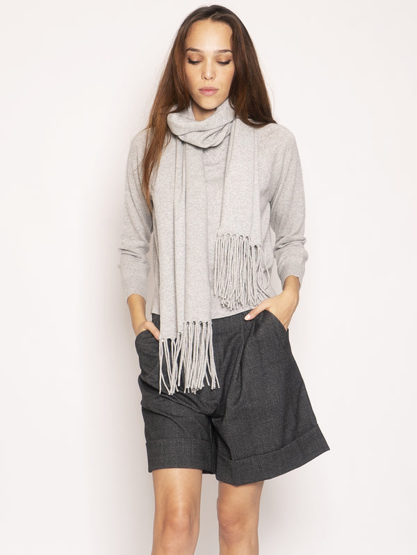 Scarf with Fringes - Pearl
