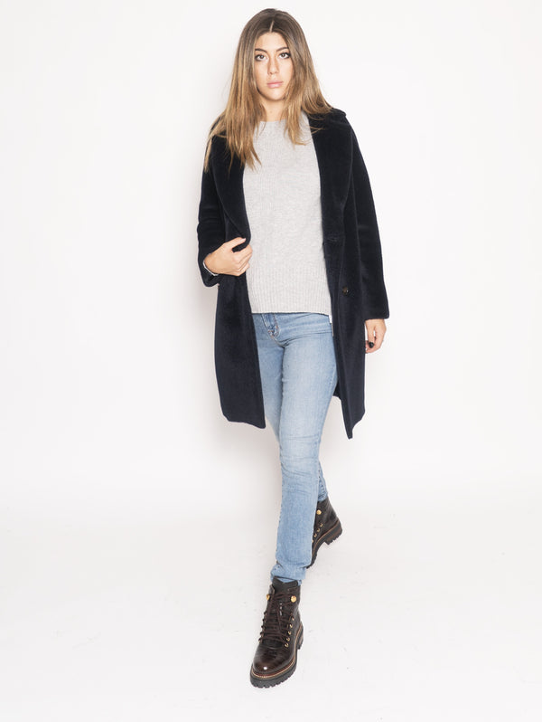 Max Mara-Cappotto in orsetto di alpaca e lana - Rose Blu-TRYME Shop
