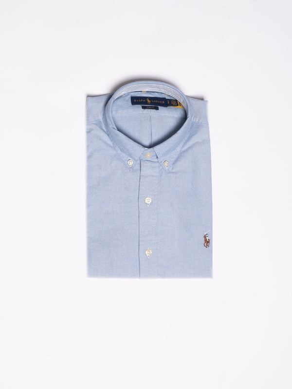 RALPH LAUREN-Camicia Oxford Slim-Fit - Celeste-TRYME Shop