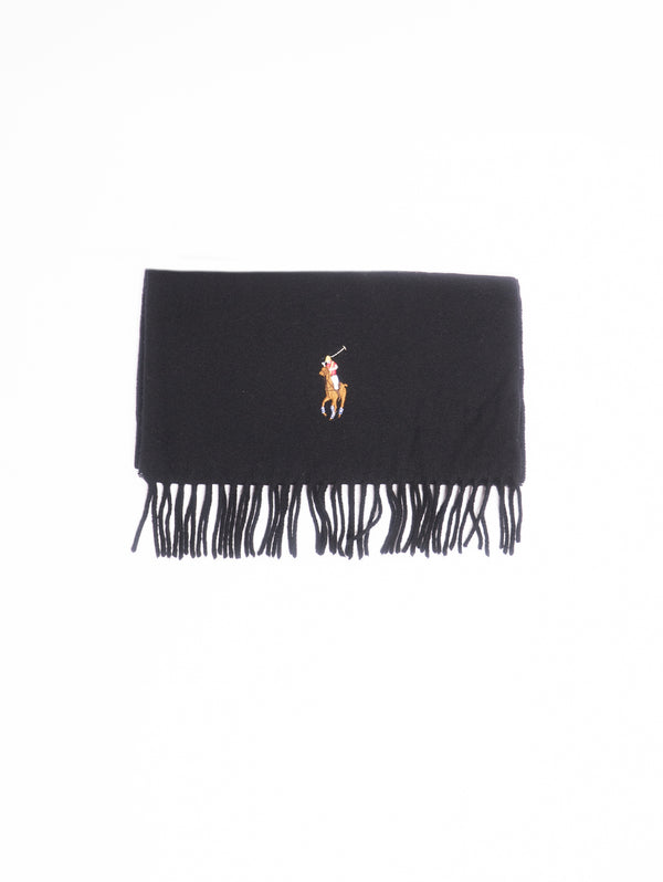 RALPH LAUREN-Sciarpa Big Pony in lana vergine con frange Nero-TRYME Shop