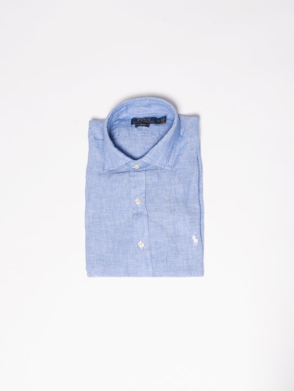 RALPH LAUREN-Camicia in Lino Slim Fit Blu-TRYME Shop