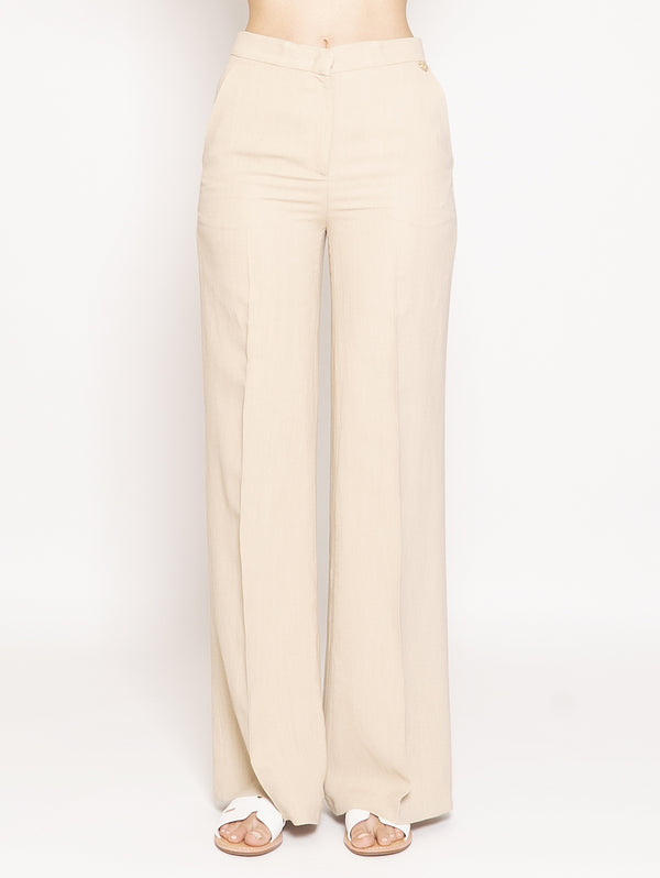 TWIN SET-Pantalone in Canvas a Palazzo Beige-TRYME Shop