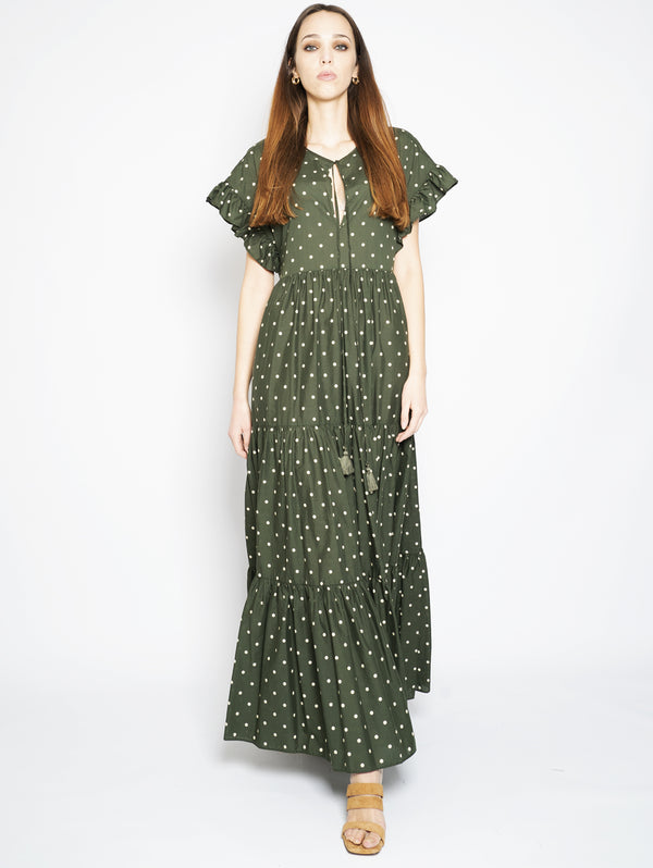Military Green Pois Long Dress