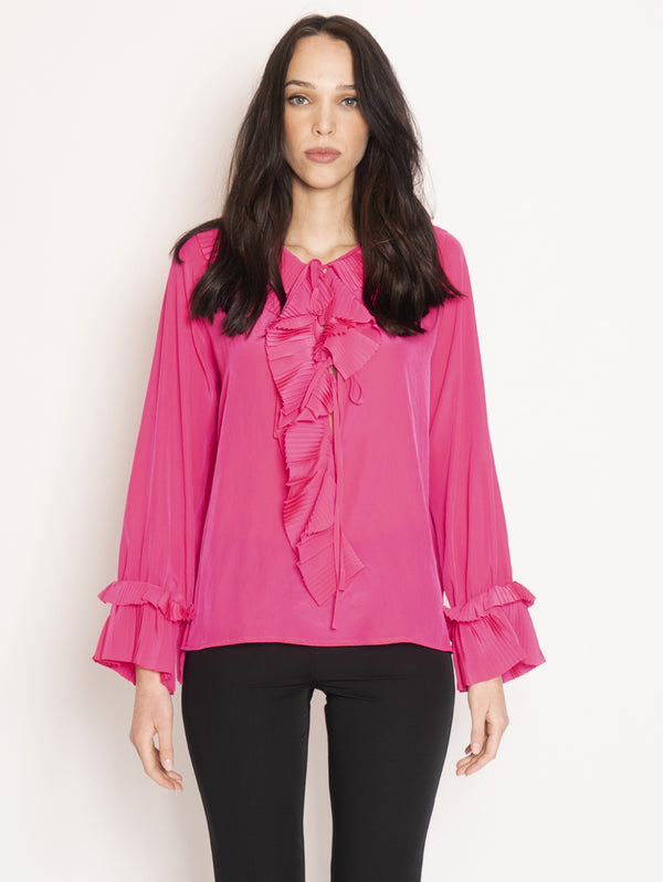 P.A.R.O.S.H.-Blusa in Chiffon con Rouches Rosa-TRYME Shop