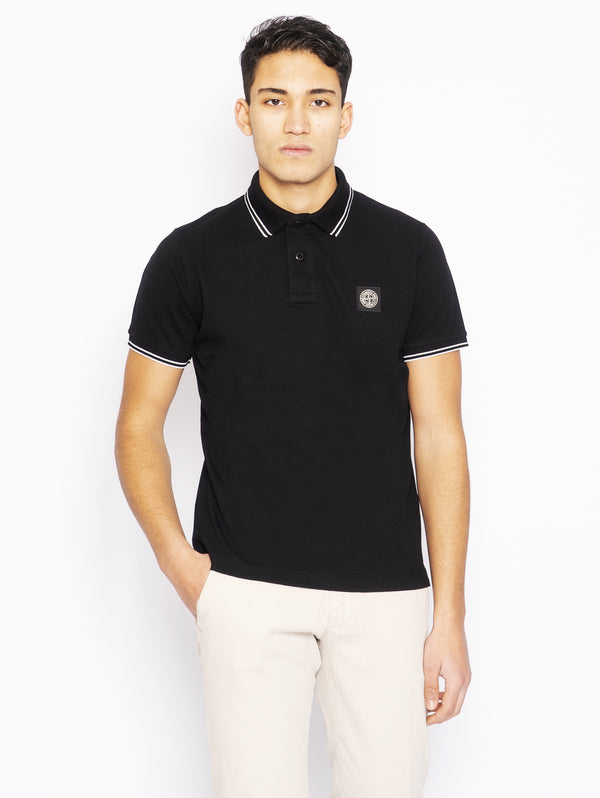 STONE ISLAND-Polo in Piquet di Cotone Nero-TRYME Shop