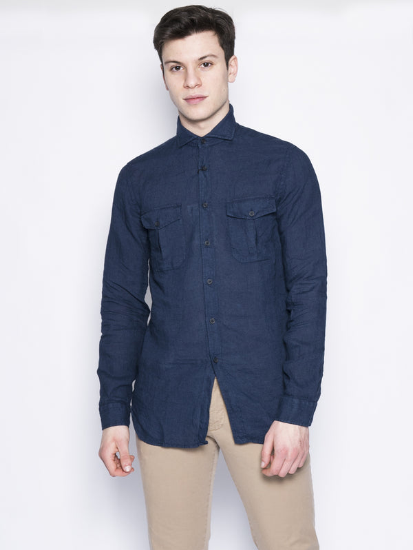 XACUS-Camicia limited edition in lino Blu-TRYME Shop
