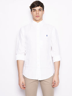 RALPH LAUREN-Camicia in Lino Slim Fit Bianco-TRYME Shop