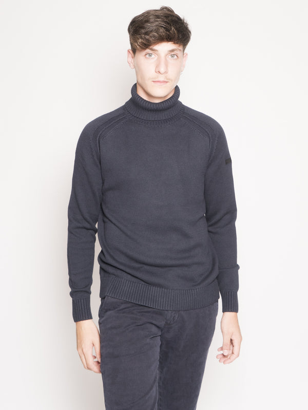 RRD-Maglia collo Alto Knit Cotton Plain Turtleneck Blu-TRYME Shop