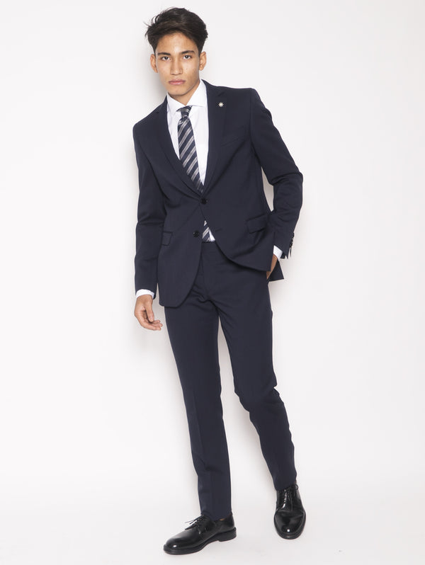 MANUEL RITZ-Abito in fresco lana slim fit Blu-TRYME Shop