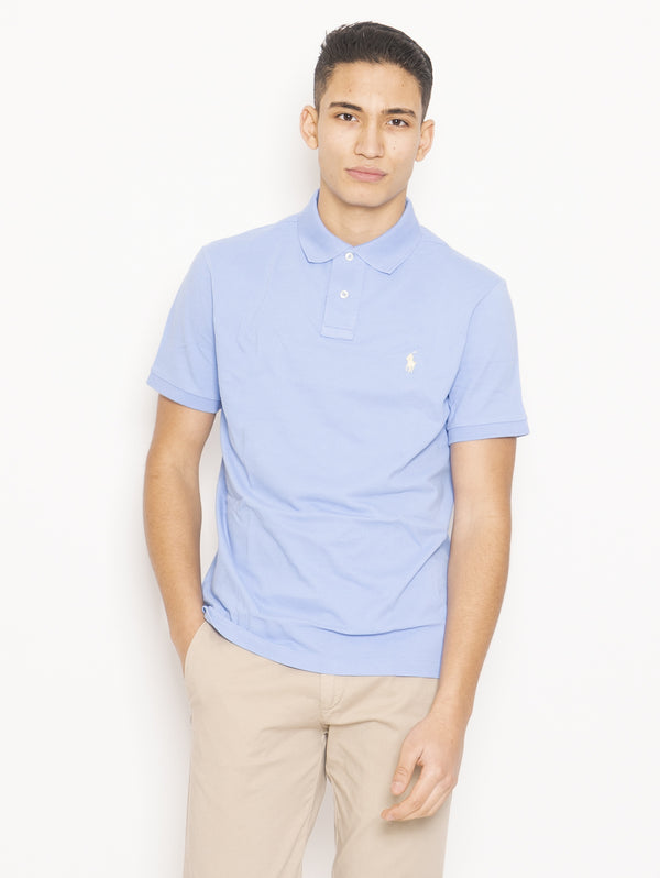 RALPH LAUREN-Polo in Piqué di Cotone Custom Slim Blu-TRYME Shop