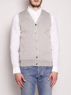 ALPHA STUDIO-Gilet in Cotone Frosted Perla-TRYME Shop