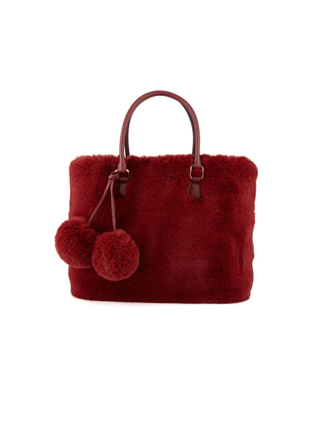 Borsa in ecopelliccia con tracolla - Reponpon Medium Shopper Burgundy