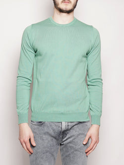 ALPHA STUDIO-Girocollo in Cotone Base Frosted Verde-TRYME Shop