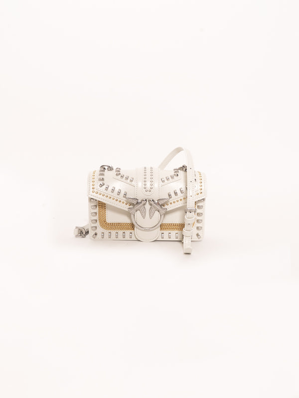 PINKO-Borsa Mini Love Bag Mix Studs Bianco-TRYME Shop