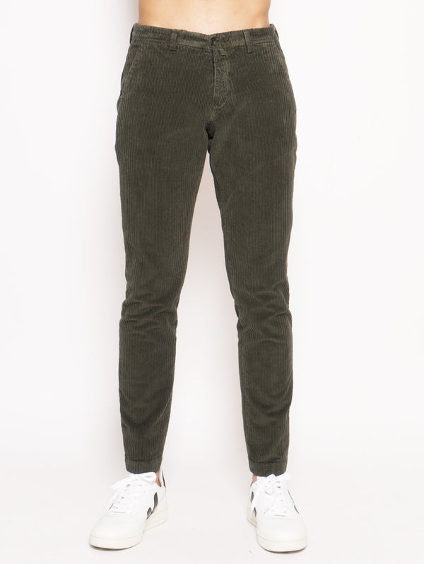 BRIGLIA 1949-Pantaloni in velluto regular Verde-TRYME Shop