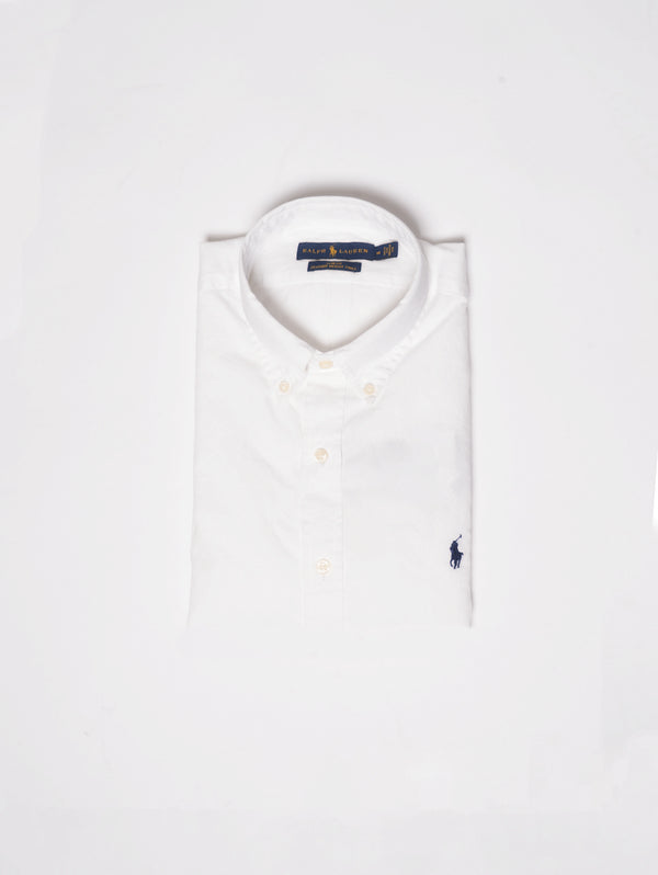 RALPH LAUREN-Camicia in Twill di Cotone Slim Fit Bianco-TRYME Shop