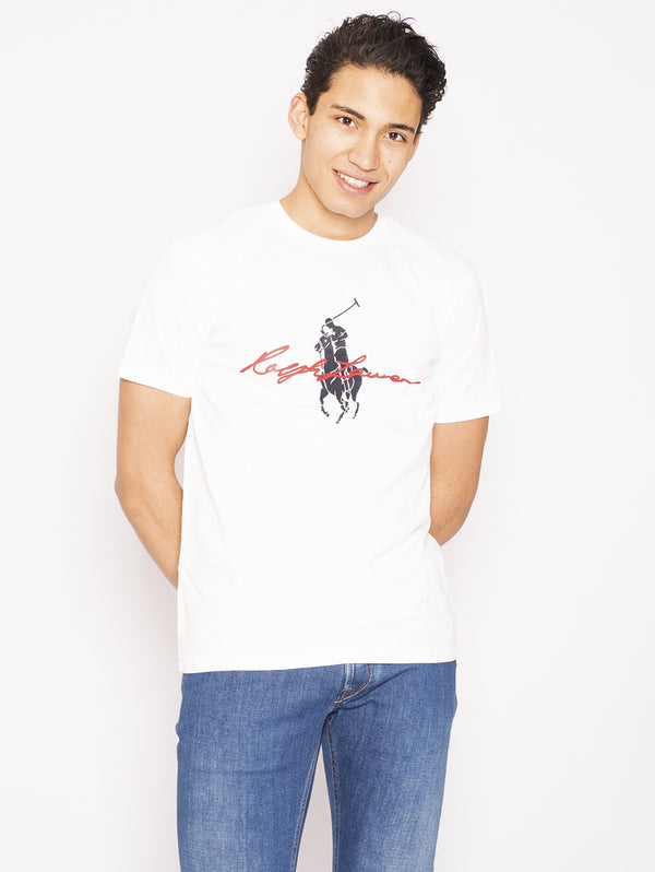 RALPH LAUREN-T-shirt con Big Pony Bianco-TRYME Shop